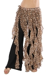 Belly Dance Belt Over-Skirt with Long Ruffle Fringe - LEOPARD