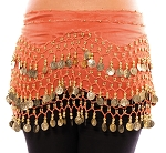 Chiffon Belly Dance Hip Scarf with Beads & Coins - ORANGE / GOLD