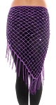 Crochet Net Shawl Scarf with Square Sequins & Fringe - PURPLE PLUM