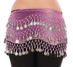 Chiffon Belly Dance Hip Scarf with Beads & Coins - 2-Tone PURPLE / SILVER