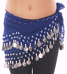 Kids Size Chiffon Hip Scarf with Coins - BLUE / SILVER