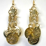 Classic Belly Dance Coin Dangle Earrings - GOLD