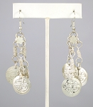 Classic Belly Dance Coin Dangle Earrings - SILVER