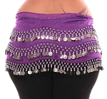 Plus Size 1X - 4X Chiffon Belly Dance Hip Scarf with Coins - PURPLE / SILVER