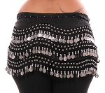 Plus Size 1X - 4X Chiffon Belly Dance Hip Scarf with Coins - BLACK / SILVER