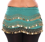 Plus Size Chiffon Belly Dance Hip Scarf with Coins - TEAL / GOLD
