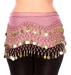 Chiffon Belly Dance Hip Scarf with Beads & Coins - VINTAGE PINK / GOLD