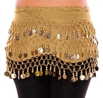 Chiffon Belly Dance Hip Scarf with Beads & Coins - GOLDEN / GOLD