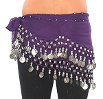 Kids Size Chiffon Hip Scarf with Coins - PURPLE GRAPE / SILVER