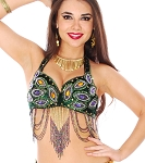 Green Velvet Peacock Belly Dance Costume Bra with Beaded Fringe