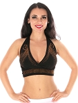 Swirl Studded Halter Dance Top - BLACK / GOLD