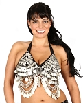 Coin Belly Dance Costume Bra with Swags & Mirror Accent - SILVER