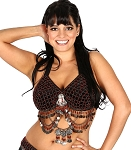 Classic Beaded Belly Dance or Tribal Bra with Coins - HEMATITE / RED