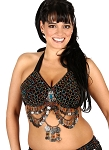 Classic Beaded Belly Dance or Tribal Bra with Coins - HEMATITE / MULTI
