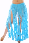 Belly Dance Belt Over-Skirt with Long Ruffle Fringe - BLUE TURQUOISE