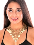 Metal Belly Dance Costume Coin Necklace - GOLD
