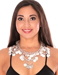 Classic Belly Dance or Tribal Coin Necklace with Swags - SILVER