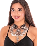 Classic Belly Dance Tribal Coin Necklace with Chain Tassels & Mirrors - SILVER