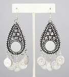 Classic Coin Earrings with Mirror Accents - SILVER