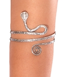 Spiraling Cobra Snake Arm Band Cuff - ANTIQUE SILVER