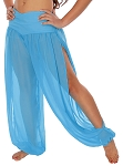 Chiffon Harem Pants with Slits - BLUE TURQUOISE