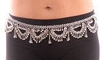 Metal Belly Dance Belt with Bells, Swags & Dangles - SILVER