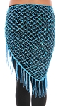 Crochet Net Shawl Scarf with Square Sequins & Fringe - BLUE TURQUOISE