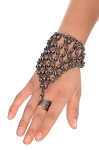 Metal Beaded Slave Bracelet - HEMATITE / BLACK