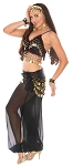6-Piece Harem Genie Belly Dancer Costume - BLACK / GOLD