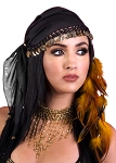Gypsy Costume Jewelry Head Scarf with Coins - BLACK / GOLD