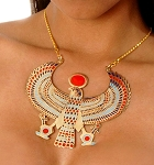 Large Egyptian Horus Necklace - GOLD / MULTI