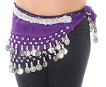Toddler Size DELUXE Coin Hip Scarf - GRAPE / SILVER