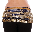 Velvet Deluxe Belly Dance Hip Scarf Belt with Coins - ROYAL BLUE / GOLD