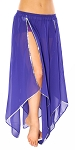 Belly Dance Petal Skirt with Sequin Trim - PURPLE GRAPE / SILVER