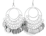 Classic Belly Dance Coin Hoop Earrings - SILVER