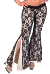 2-Layer Lace Bell Bottom Tribal Fusion Belly Dance Pants - BLACK / BEIGE