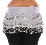 Plus Size 1X - 4X Chiffon Belly Dance Hip Scarf with Coins - WHITE / SILVER