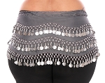 Plus Size 1X - 4X Chiffon Belly Dance Hip Scarf with Coins - CHARCOAL / SILVER