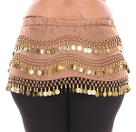 Plus Size 1X - 4X Chiffon Belly Dance Hip Scarf with Coins - MOCHA / GOLD