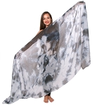 Tie-Dye Silk Belly Dance Veil - MIDNIGHT CLOUDS