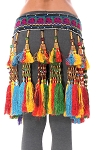 Afghani Kuchi Tribal Belt with Colorful Beaded Silk Tassels
