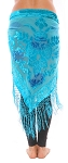 Burnout Velvet Rose Pattern Shawl Hip Scarf with Fringe - TURQUOISE / BLUE