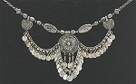 Ornate Tribal Coin Necklace with Beads & Medallions - SILVER