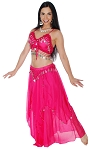 2-Piece Belly Dancer Costume with Coins - DARK PINK / SILVER