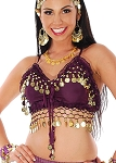 Chiffon Deluxe Belly Dance Bra Top - DARK PURPLE PLUM / GOLD