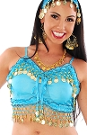 Chiffon Deluxe Belly Dance Bra Top - LT. BLUE TURQUOISE / GOLD