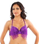 Sequin Belly Dance / Samba Bra with Beaded Fringe - PURPLE