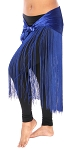 Velvet Tribal Belly Dance Gypsy Hip Scarf Belt with Long Fringe - BLUE