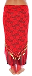 Tribal Gypsy Lace Shawl Hip Scarf with Coins & Fringe - RED / GOLD
