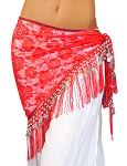 Lace Shawl Hip Scarf with Coins & Fringe - RED / SILVER